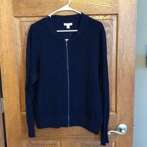 Navy Blue Chevron Zip Cardigan Sweater NWT